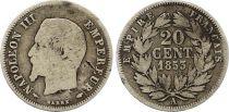 France 20 Centimes Napoléon III Tête nue - 1853 A Paris Argent