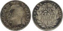 France 20 Centimes Napoléon III Tête nue - 1854 A Paris Argent