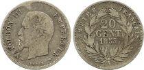 France 20 Centimes Napoléon III Tête nue - 1855 A Paris Argent