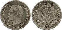 France 20 Centimes Napoléon III Tête nue - 1859 A Paris Argent
