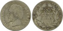France 20 Centimes Napoléon III Tête nue - 1860 BB Argent