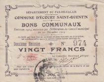 France 20 F Ecourt-Saint-Quentin émis 1914