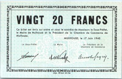 Banknote france 20 francs mulhouse chambre de commerce for Chambre de commerce japonaise en france