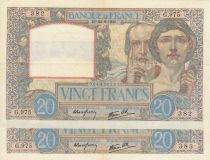 France 20 Francs  Science and Industry - 22-08-1940 2 consecutives numbers