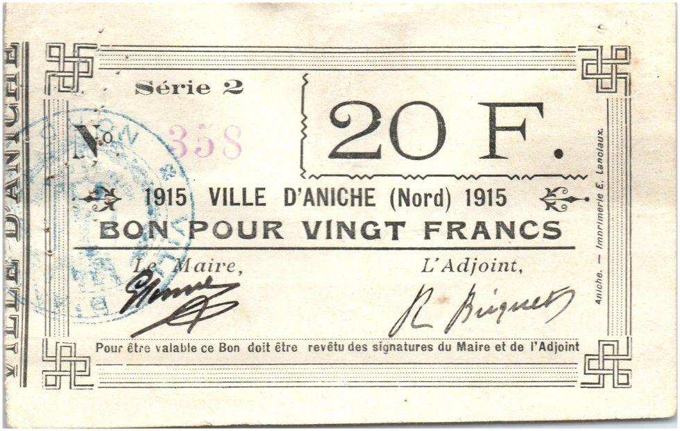 France 20 Francs Aniche City - 1915