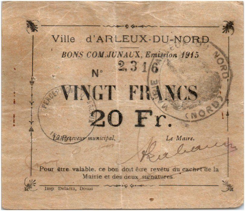 France 20 Francs Arleux Ville - 1915