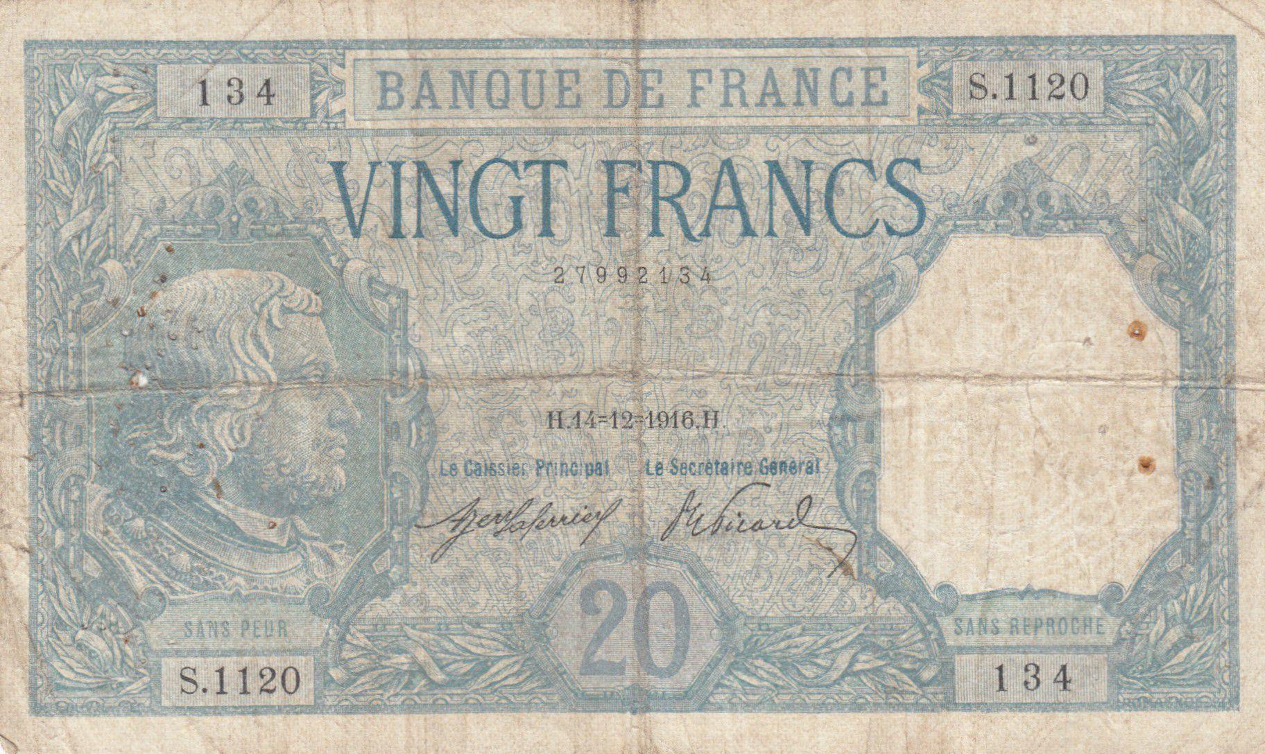 France 20 Francs Bayard - 14-12-1916 Série S.1120 - TB