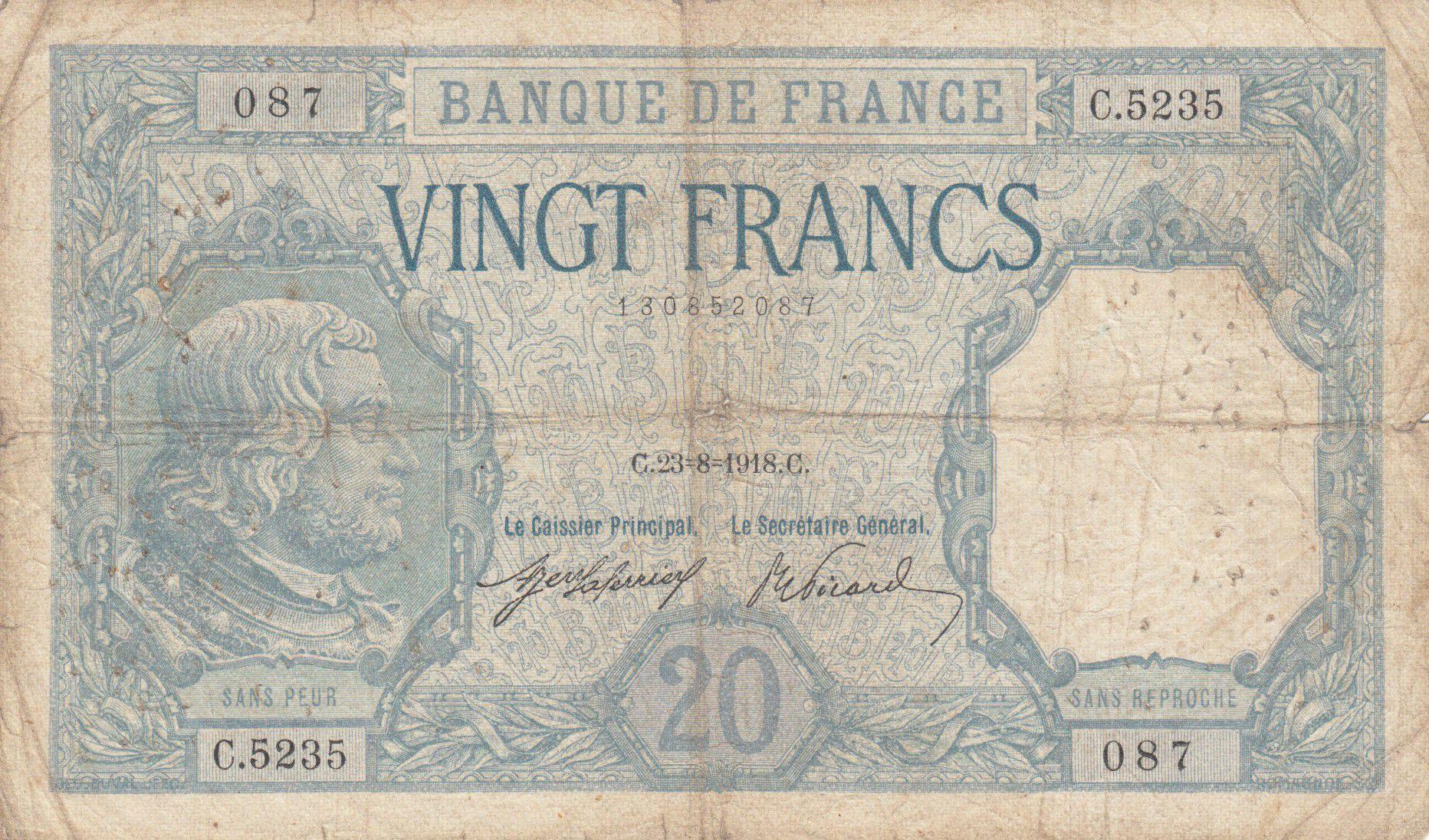 France 20 Francs Bayard - 23-08-1918 Série C.5235 - TB