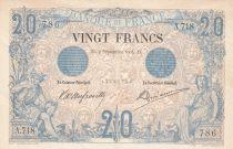 France 20 Francs Black - 02-09-1904 - Serial A.718 -XF