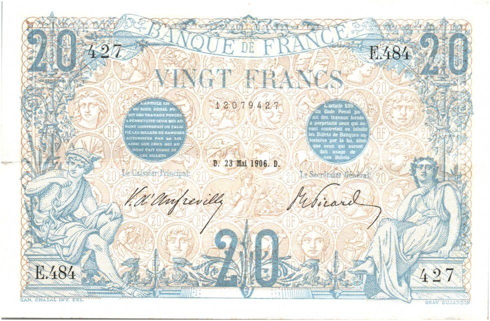 France 20 Francs Bleu - 1906