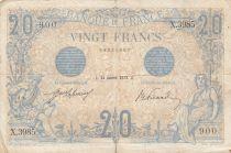 France 20 Francs Bleu - 24-01-1913 - Série X.3895 - TB