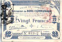 France 20 Francs Cambrai Ville - 1914