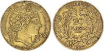 France 20 Francs Ceres - II e Republic - 1851 A Paris - Gold