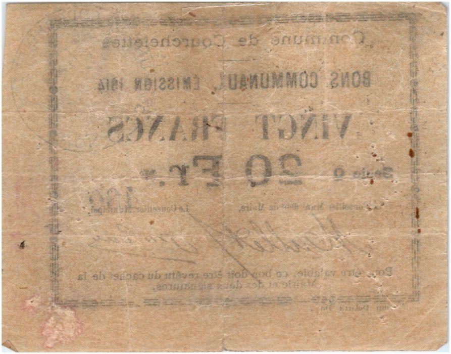 France 20 Francs Courchelettes City - 1914