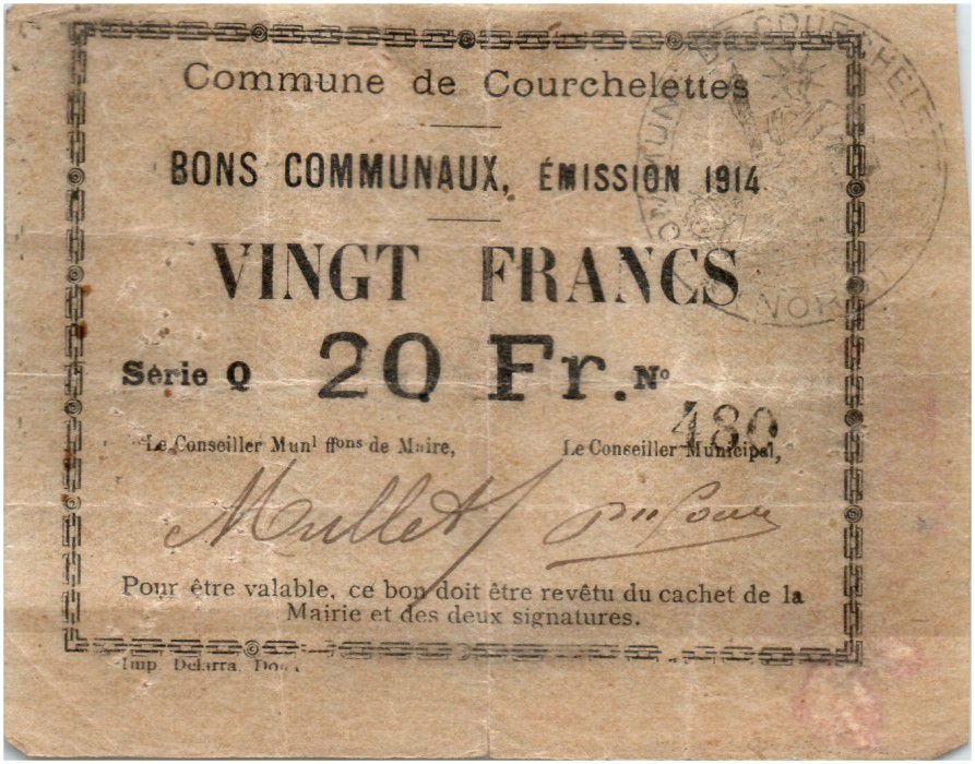 France 20 Francs Courchelettes Commune - 1914