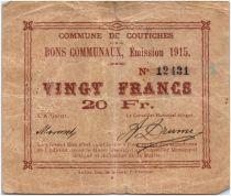 France 20 Francs Coutiches City - 1915