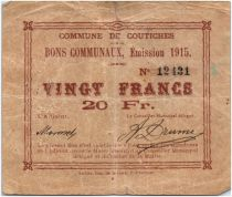 France 20 Francs Coutiches Commune - 1915