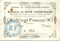 France 20 Francs Crevecoeur-Sur-L´escaut Commune - 1915