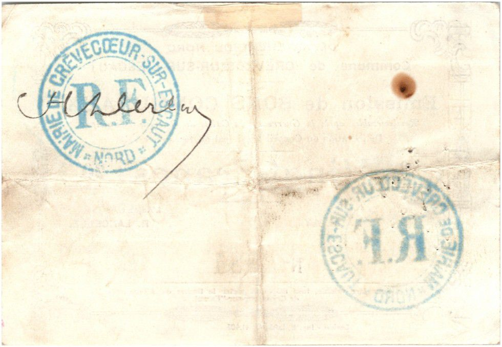 France 20 Francs Crevecoeur-Sur-L´escaut Commune - 1915