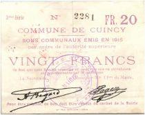 France 20 Francs Cuincy Commune - 1915