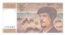 France 20 Francs Debussy - 1980 Série A.008 - SUP