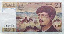France 20 Francs Debussy - 1980 Série G.002 - TTB+