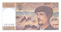 France 20 Francs Debussy - 1981 Série A.008 - SPL