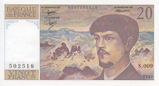 France 20 Francs Debussy - 1982