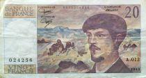 France 20 Francs Debussy - 1983 Serial A.012 - VF