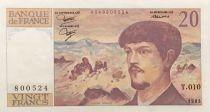 France 20 Francs Debussy - 1983 Serial T.010 - XF