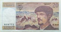 France 20 Francs Debussy - 1984 Serial D.013 - VF+
