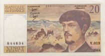 France 20 Francs Debussy - 1984 Serial V.013 - XF to AU