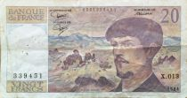 France 20 Francs Debussy - 1984 Serial X.013 - F+