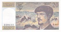 France 20 Francs Debussy - 1986 Serial E.017 - XF+