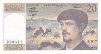 France 20 Francs Debussy - 1986 Serial E.017 - XF+