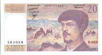 France 20 Francs Debussy - 1987 - O.022
