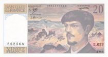 France 20 Francs Debussy - 1988 Serial E.023 - aUNC