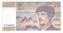 France 20 Francs Debussy - 1989 Serial F.025 - aUNC