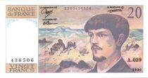 France 20 Francs Debussy - 1990 - Série A-029