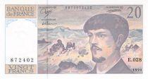 France 20 Francs Debussy - 1990 Serial E.028 - AU