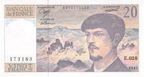 France 20 Francs Debussy - 1990 Serial E.028 - UNC