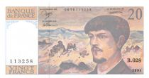 France 20 Francs Debussy - 1990 Série B.028 - SPL+