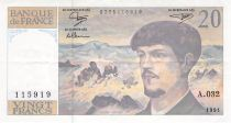 France 20 Francs Debussy - 1991 - Serial A.032 - VF
