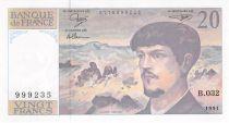 France 20 Francs Debussy - 1991 Serial B.032 - aUNC