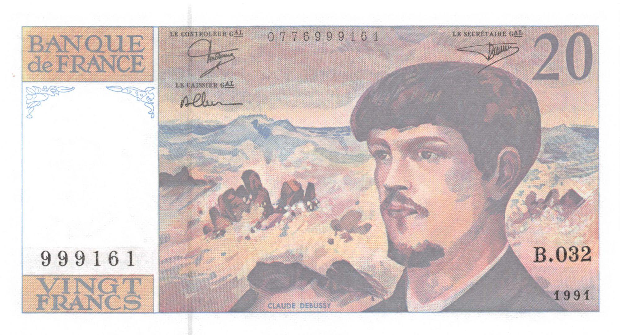 France 20 Francs Debussy - 1991 Série B.032 - NEUF