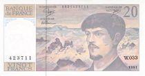 France 20 Francs Debussy - 1991 Série W.033 - SPL