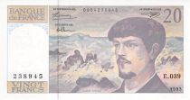 France 20 Francs Debussy - 1993 Serial E.039 - aUNC