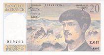 France 20 Francs Debussy - 1993 Serial E.045 - aUNC