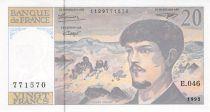 France 20 Francs Debussy - 1993 Serial E.046 - aUNC