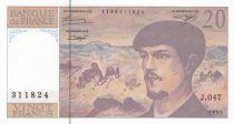 France 20 Francs Debussy - 1995 - Serial J.047